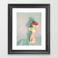Vintage Staring Bobblehead Cat Framed Art Print
