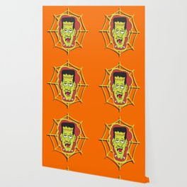 Halloween Frankenstein Monster Character With Spider Web Wallpaper
