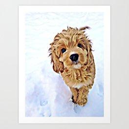 Myrra in the snow Art Print