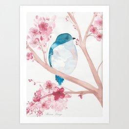 Blue Bird and Blossoms Art Print