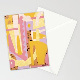 Bright and Playful Abstract Pattern Design - Pink, Yellow, Purple, and Brown for a Year-Round Summer Stationery Cards