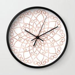 Mandala Rose Gold Pink Flower Wall Clock