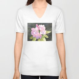 Pink Rhododendron Unisex V-Neck