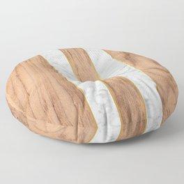 Striped Wood Grain Design - White Marble #497 Floor Pillow