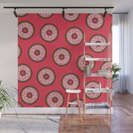 Pink Donut Pattern Wall Mural