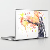 rick grimes Laptop & iPad Skins featuring Portrait of Rick Grimes from The Walking Dead by idillard