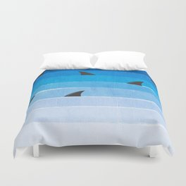 Sharks - shark week trendy black and white minimal kids pattern print ombre blue ocean surfing  Duvet Cover