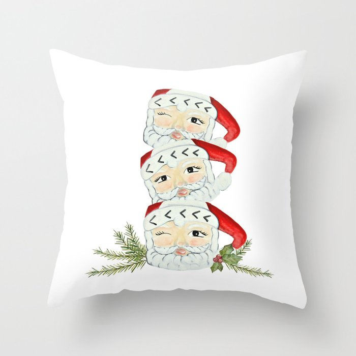 Vintage santa mug stack Throw Pillow