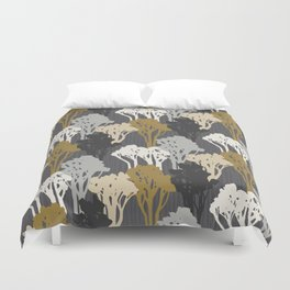 Arboreal Silhouettes - Golds & Silvers Duvet Cover