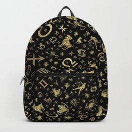 Zodiac symbols and glyphs Gold on black Backpack