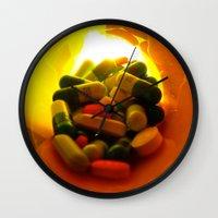 pills Wall Clocks featuring Pills by Jerel Cardona