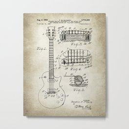 Patent 1955 Gibson Les Paul Guitar Designed By T. McCarty Metal Print
