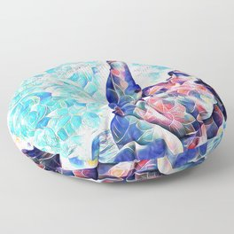 3047-JPC Abstract Nude in Blue Green Yoga Stretch Feminine Power Floor Pillow