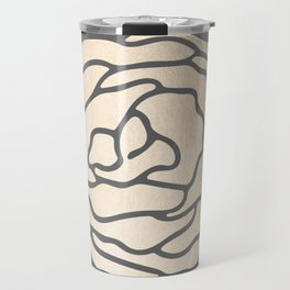 Rose in White Gold Sands on Storm Gray Travel Mug