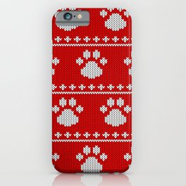 Red Ugly Sweater Paw Pattern iPhone Case