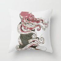 huebucket Throw Pillows featuring My head is an octopus by Huebucket