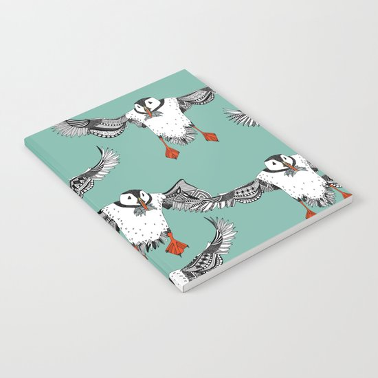 Atlantic Puffins mint Notebook