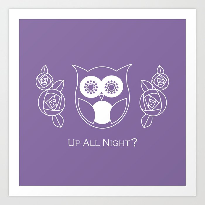 Up All Night? Cute Retro Owl and Roses Art Print