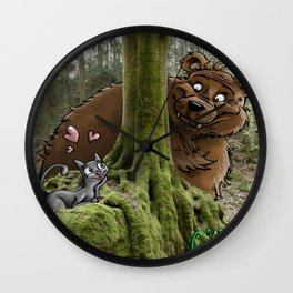 The Cat and the Bear loving couple Wall Clock