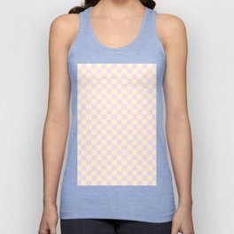 Cream Yellow and Pink Lace Checkerboard Unisex Tank Top