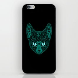 Blue Day of the Dead Sugar Skull Cat iPhone Skin