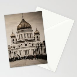 the Cathedral of Christ the Savior in Moscow in Sepia Stationery Cards