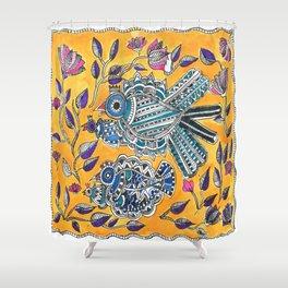 Madhubani - Blue Yellow Bird Shower Curtain