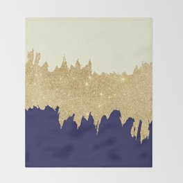 Navy blue ivory faux gold glitter brushstrokes Throw Blanket