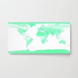 worlD Map Seafoam Green Metal Print