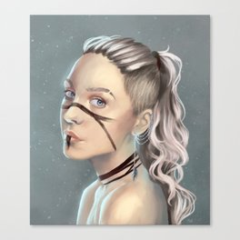 Woman with face paint Canvas Print