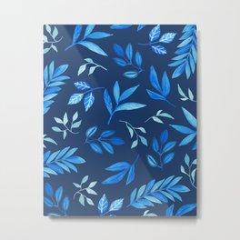 Tropical Blue Leaves - navy Metal Print