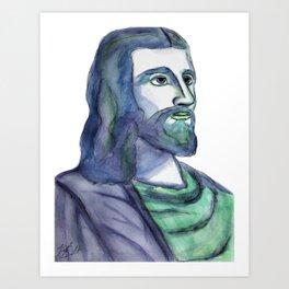 Jesus Watercolor Portrait Art Print