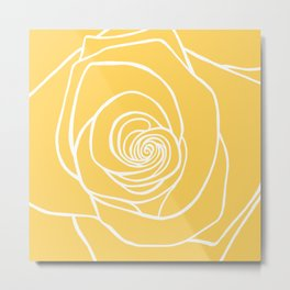 Sunshine Yellow Rose Drawing Metal Print