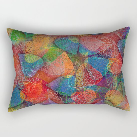 Multicolor Leaves Rectangular Pillow