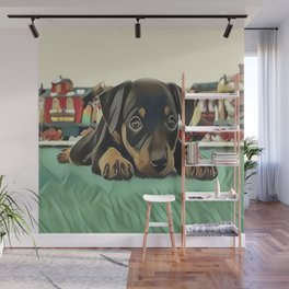 Doberman Puppy Protecting the 027 Railroad Wall Mural