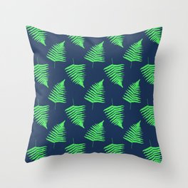 Navy and Lime Fern Pattern Throw Pillow