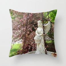 Angel Bird Feeder Throw Pillow