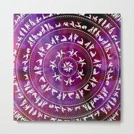 Kama Sutra Mandala Dark Red Metal Print