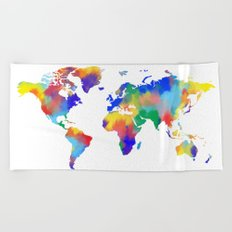 world map colorful Beach Towel