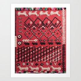 V22 Sheep herd Design Traditional Moroccan Carpet Texture. Art Print