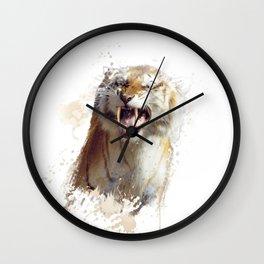 sabertooth tiger portrait watercolor Wall Clock