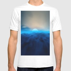 Blue #moon MEDIUM White Mens Fitted Tee