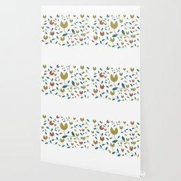 Stylized Flowers Entwine Wallpaper