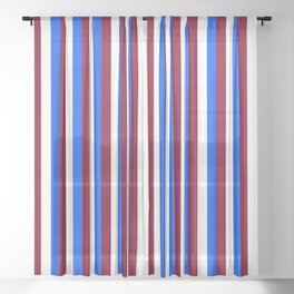 Team Colors 4... maroon,blue and white Sheer Curtain