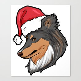Shetland Sheepdog Dog Christmas Hat Present Canvas Print