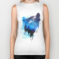 alone Biker Tanks featuring Alone as a wolf by Robert Farkas