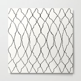 Moroccan Diamond Weave in Black and White Metal Print