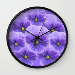 LILAC PURPLE SPRING PANSY FLOWERS ART Wall Clock