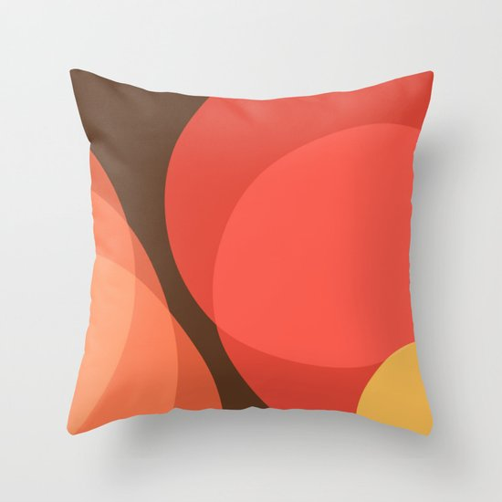 Yellow Brown Throw Pillows : Red Yellow Circles On Brown Throw Pillow by Red Coat Studio Design Society6