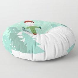 Small skier Floor Pillow